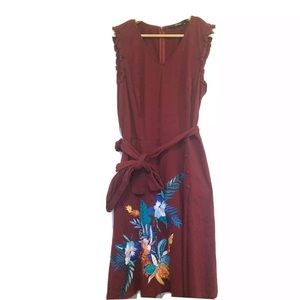 eSHAKTI Tropical Floral Embroidered Knit Dress